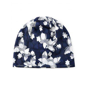 Blooming Flowers Pattern Lace Slouchy Beanie - MIDNIGHT BLUE