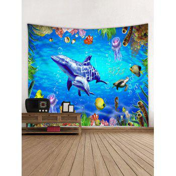 World of Sea Dolphin Seahorse Print Wall Decor Tapestry - multicolor W59 INCH * L51 INCH