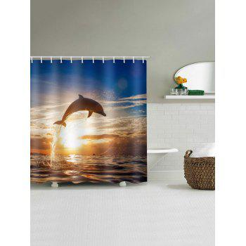 Sunset Dolphin Print Waterproof Art Bath Curtain - multicolor W71 INCH * L79 INCH