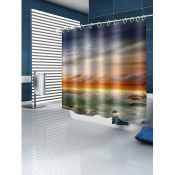 Sea Wave Sunset Print Waterproof Shower Curtain - multicolor W71 INCH * L79 INCH