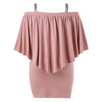 Plus Size Open Shoulder Capelet Nursing Dress - LIGHT PINK 2X