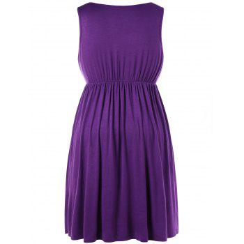 Sleeveless Plus Size Drawstring Waist Nursing Dress - VIOLET 4X