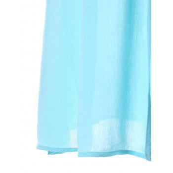 Drawstring Embroidered Mini Dress - ROBIN EGG BLUE M