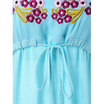 Drawstring Embroidered Mini Dress - ROBIN EGG BLUE XL