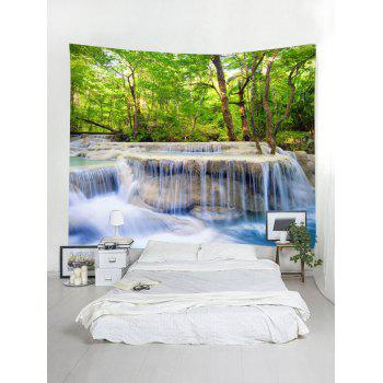Forest Trees Stream Printed Wall hanging Tapestry - multicolor W118 INCH * L79 INCH