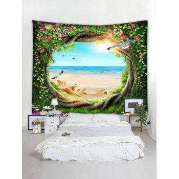 Beach Scenery Through Tree Wall Hanging Tapestry - multicolor W71 INCH * L71 INCH