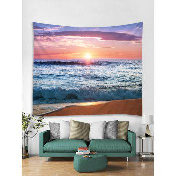Sunset Beach Printed Wall Hangings Tapestry Art - multicolor W91 INCH * L71 INCH