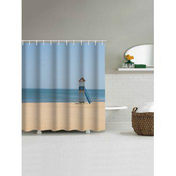 Beach Tower Print Water Resistant Shower Curtain - LIGHT BLUE W71 INCH * L79 INCH
