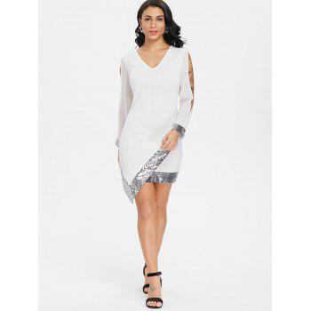 Slit Sleeve Sequin Trimmed Chiffon Party Dress - MILK WHITE L