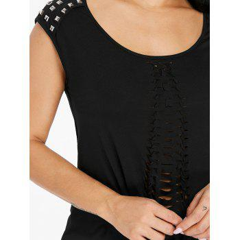 Rivet Decorated Ripped Tank Top - BLACK M
