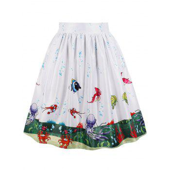 Sea Scenery 3D Print Midi A Line Skirt - WHITE XL