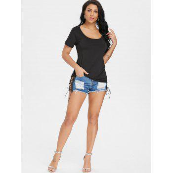 Ripped Back Short Sleeve T-shirt - BLACK L