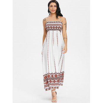 Tribal Printed Smocked Boho Slip Dress - MILK WHITE L
