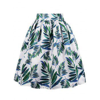 High Rise Leaves Print Midi Swing Skirt - WHITE S