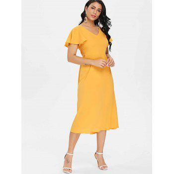 Open Back Drawstring Chiffon Flowy Dress - SCHOOL BUS YELLOW M