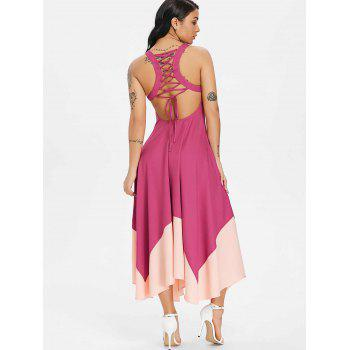 Color Block Lace Up Handkerchief Hem Chiffon Dress - CHESTNUT RED M