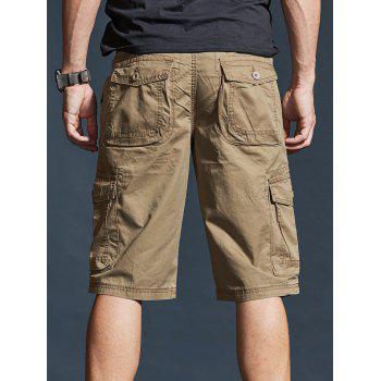 Zipper Fly Pockets Design Casual Cargo Shorts - LIGHT KHAKI 2XL