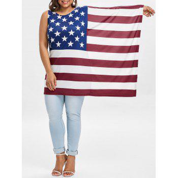Plus Size Batwing Sleeve American Flag T-shirt