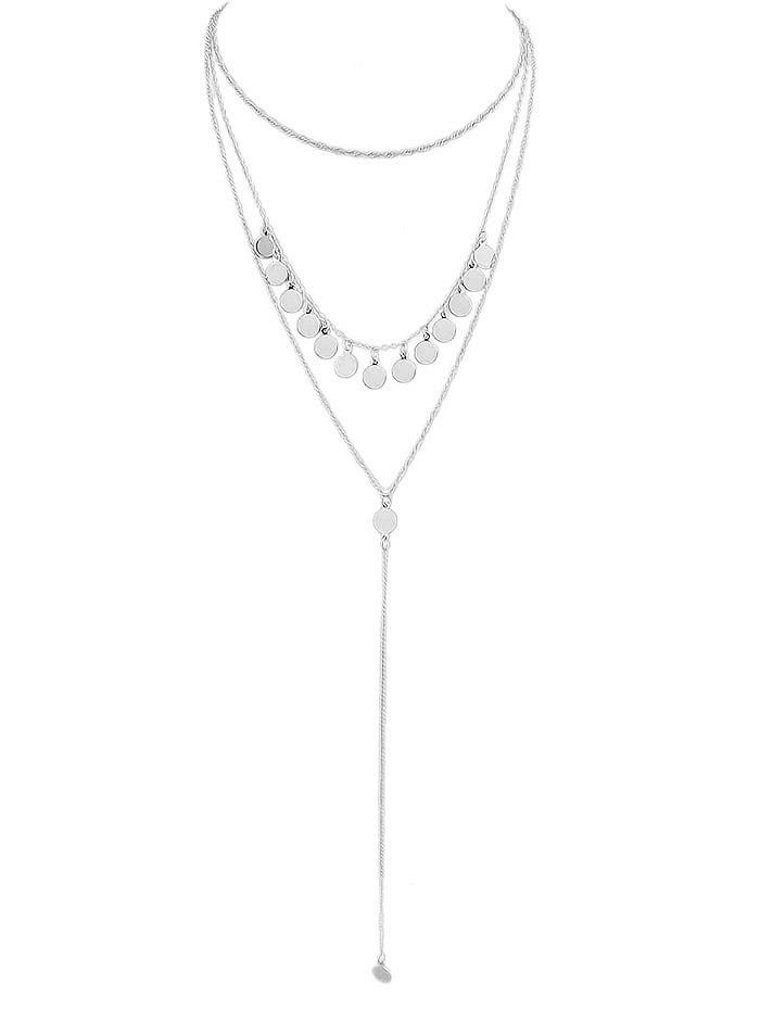 Sequins Layered Chain Necklace - SILVER