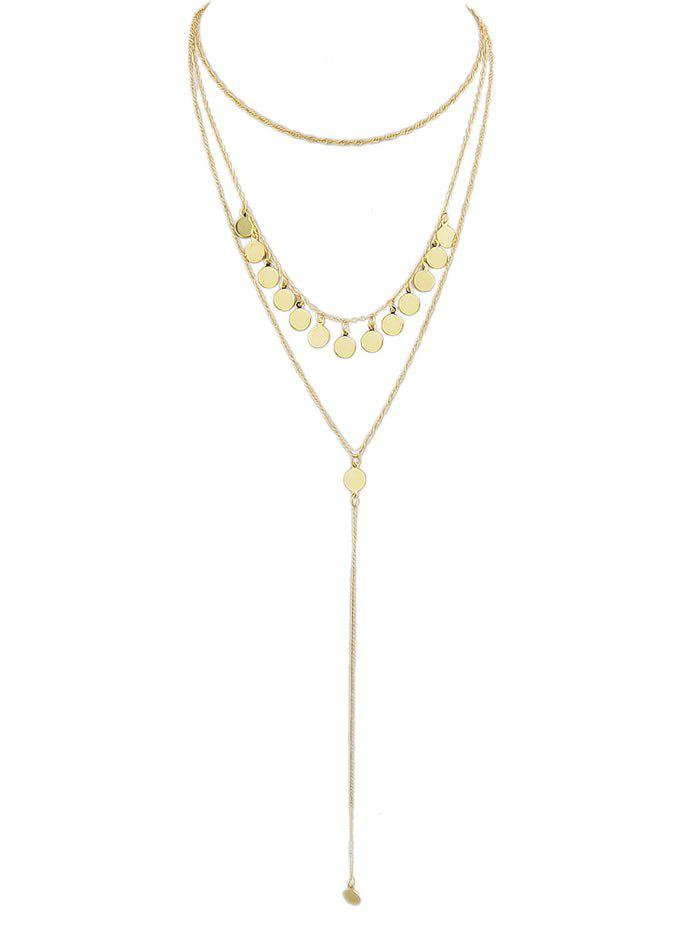Sequins Layered Chain Necklace - GOLD