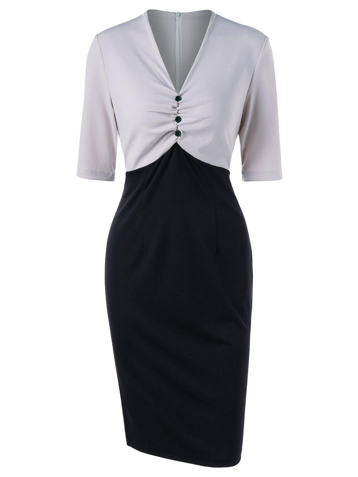 Low Cut Color Block Bodycon Dress - LIGHT GRAY L