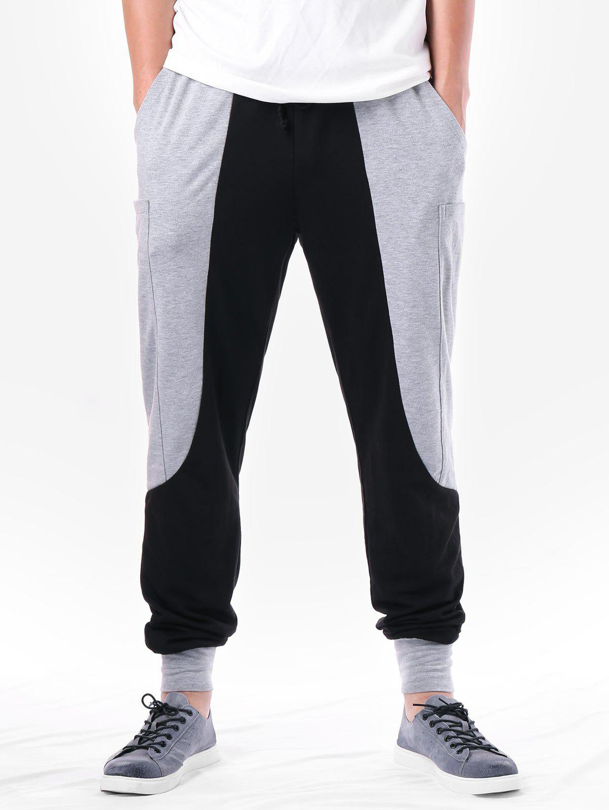Contrast Color Pocket Design Narrow Feet Pants - BLACK 2XL