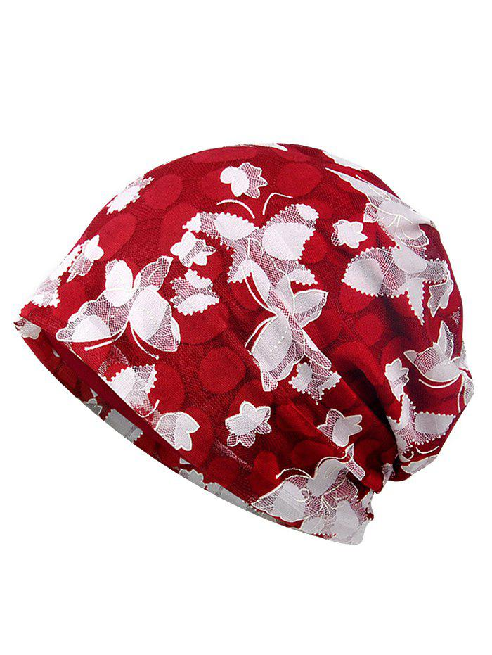 Blooming Flowers Pattern Lace Slouchy Beanie - LOVE RED
