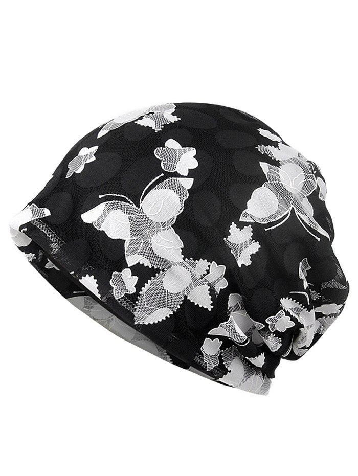 Blooming Flowers Pattern Lace Slouchy Beanie - BLACK