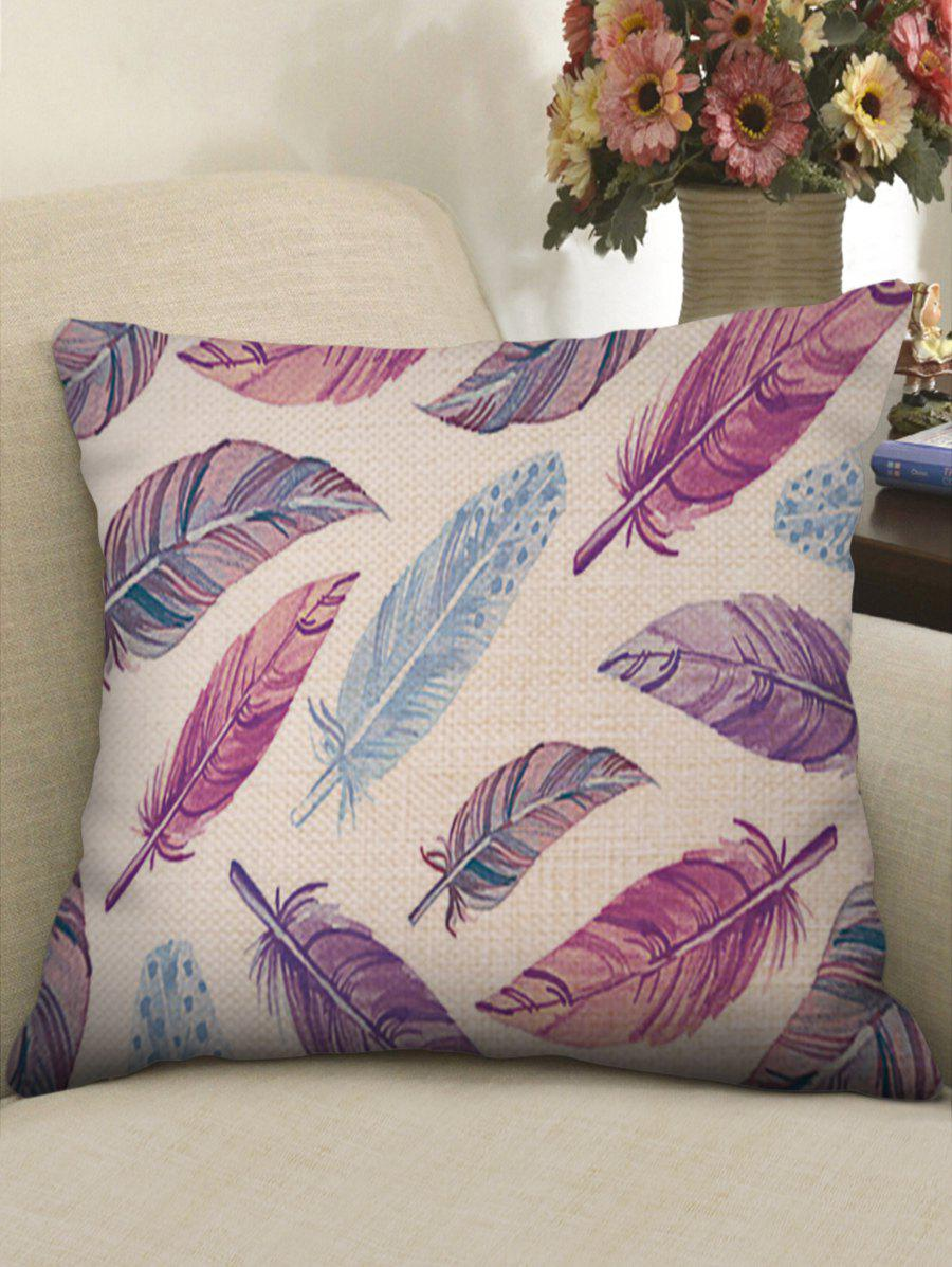 Colorful Feathers Print Decorative Linen Sofa Pillowcase colorful wood grain print linen sofa pillowcase