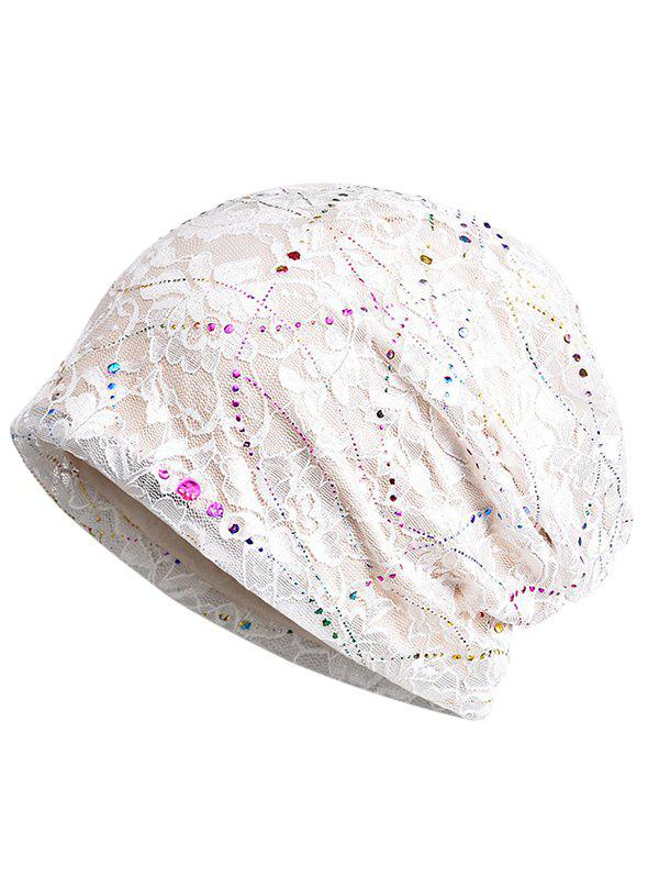 Lightweight Sequins Lace Slouchy Beanie - WHITE