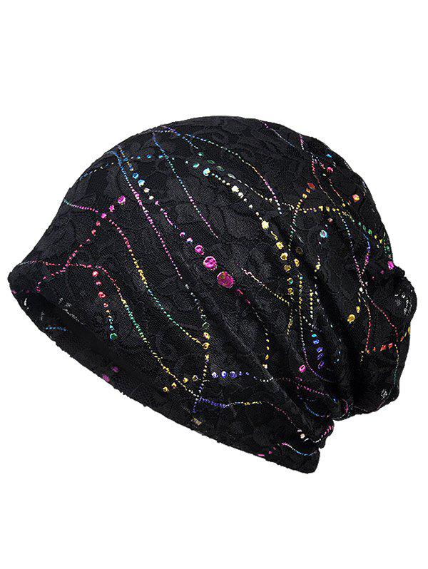 Lightweight Sequins Lace Slouchy Beanie - BLACK
