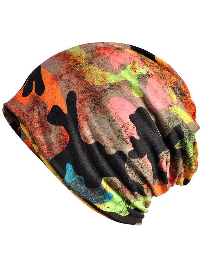 Unique Digital Camo Pattern Slouchy Beanie - PAPAYA ORANGE