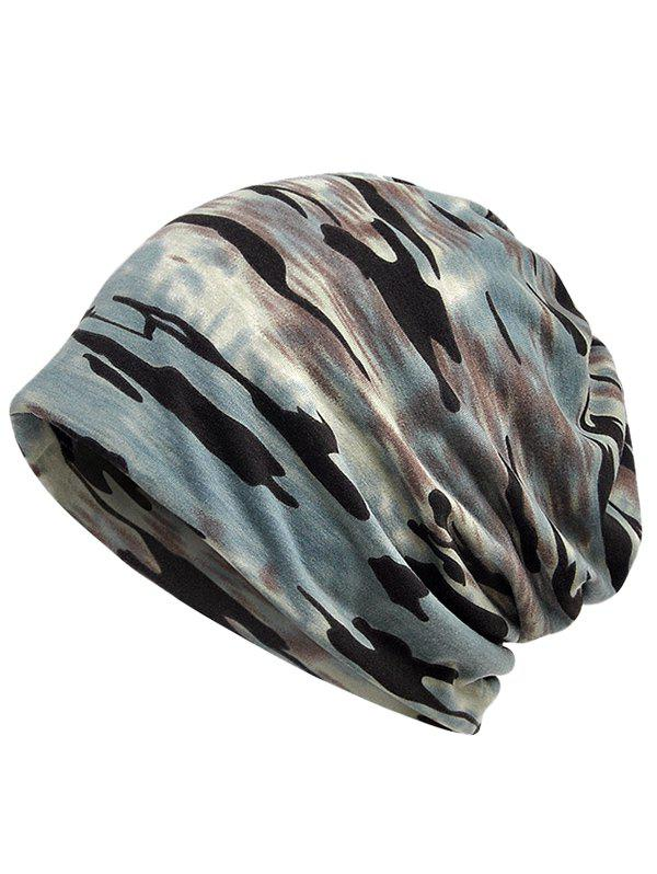 Outdoor Camouflage Pattern Baggy Beanie - BLUE GRAY