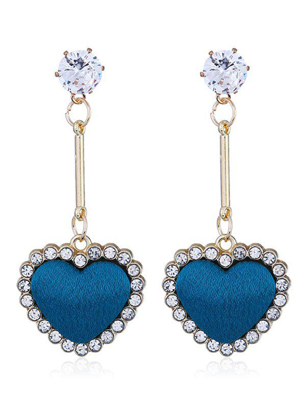 Faux Diamond Heart Stud Drop Earrings - BLUE
