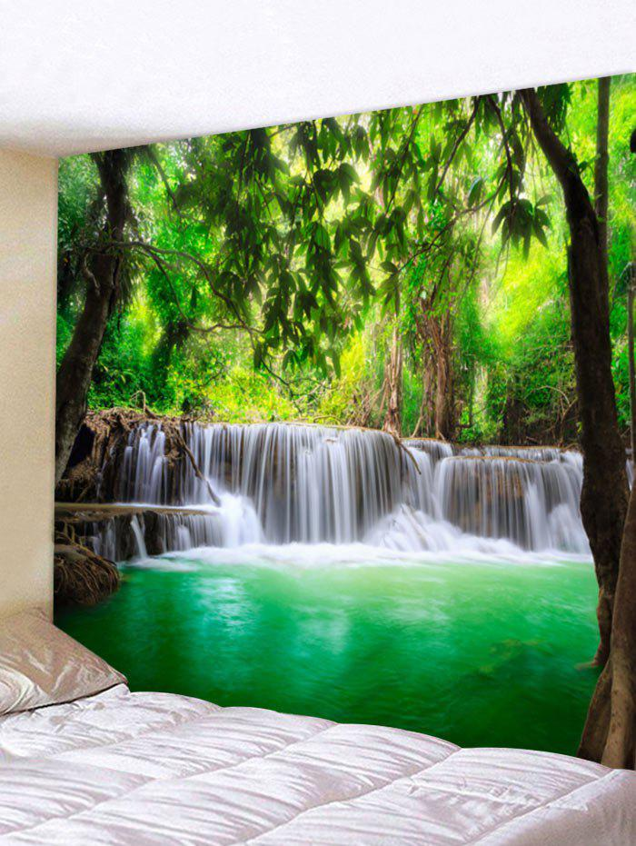 Forest Waterfall Lake Printed Wall Art Tapestry - FOREST GREEN W118 INCH * L79 INCH