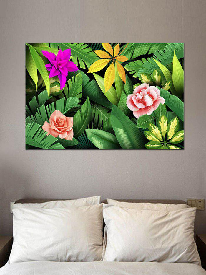 Tropical Jungle Flowers Print Wall Art Sticker - multicolor W20 INCH * L27.5 INCH
