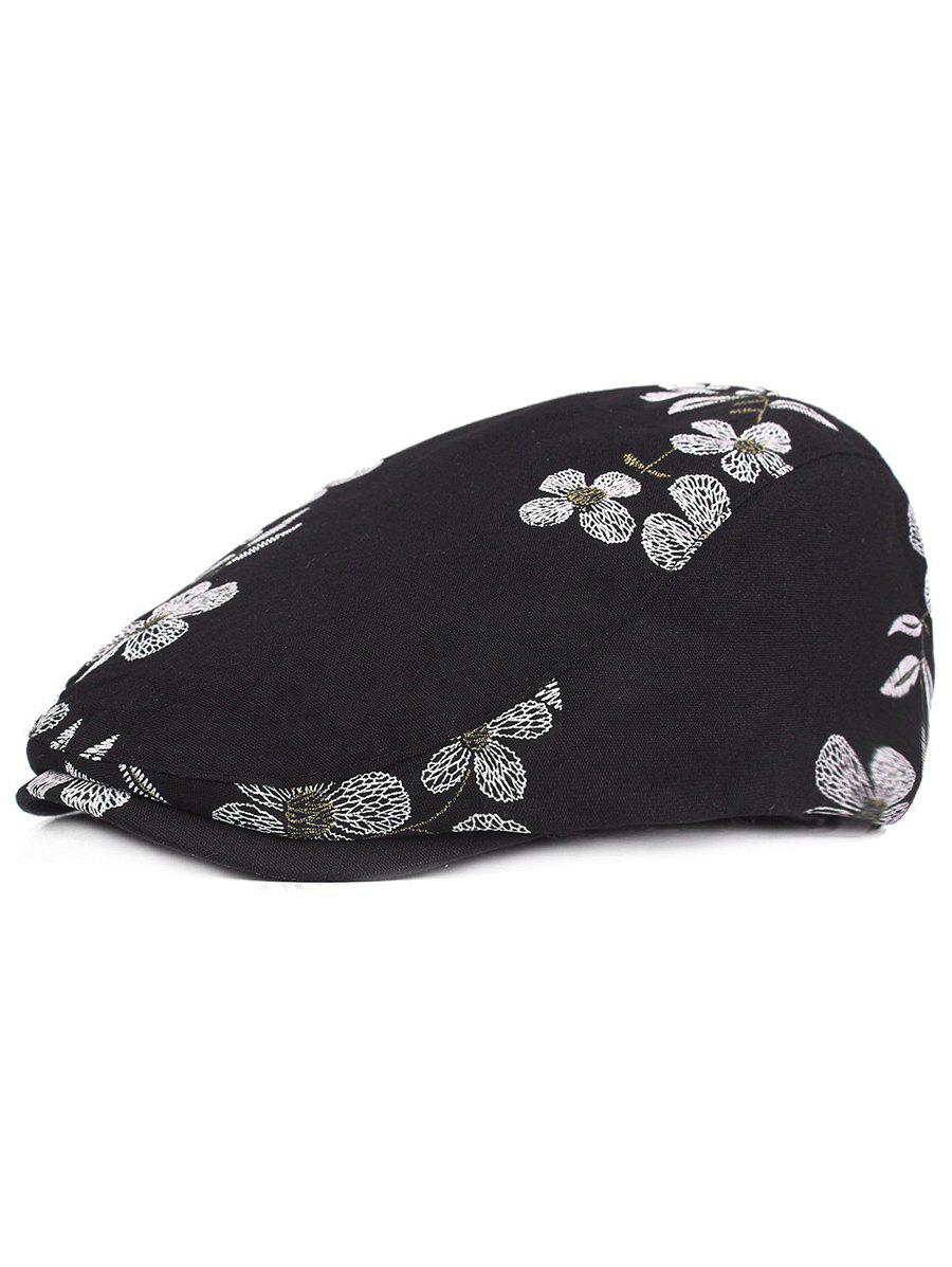 Flourishing Flowers Embroidery Sunscreen Hat - BLACK
