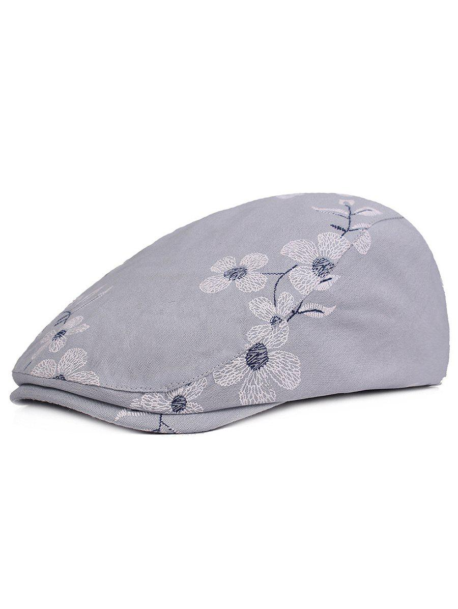 Flourishing Flowers Embroidery Sunscreen Hat - BLUE GRAY