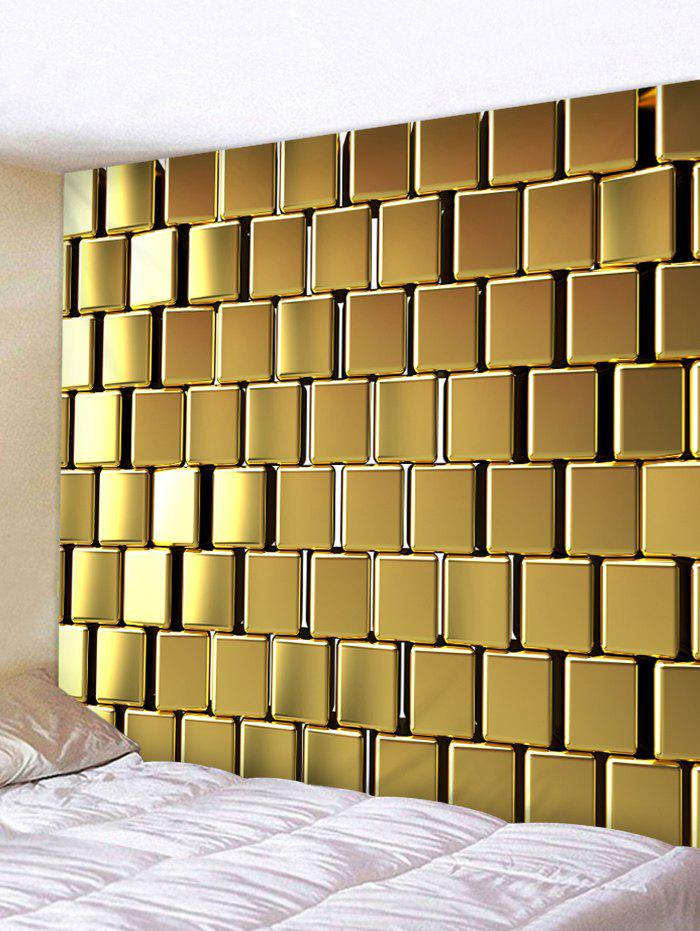 2018 Golden Square Print Wall Hanging Tapestry GOLDEN BROWN W INCH L ...