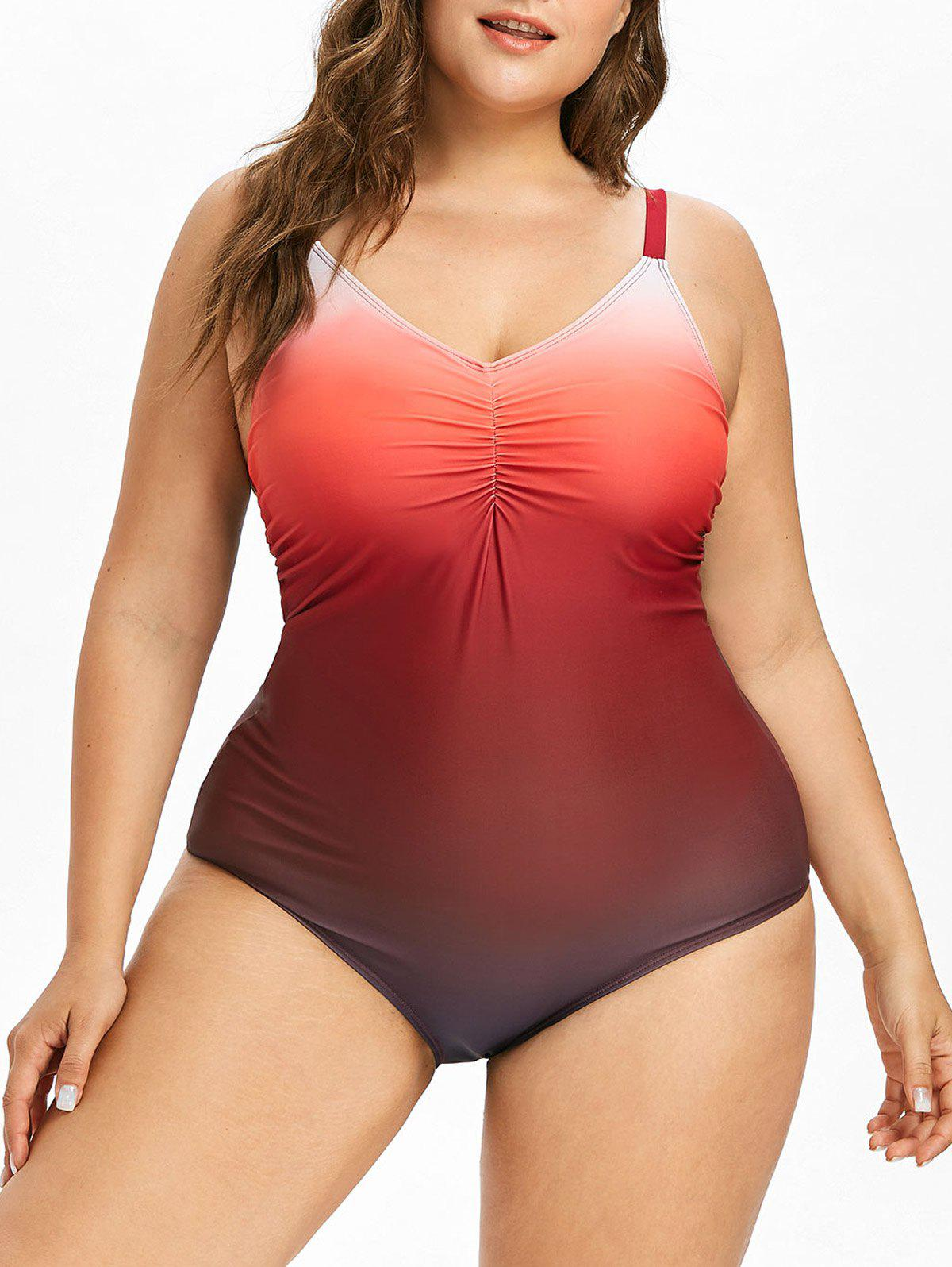 Plus Size One Piece Lace Up Swimsuit - RED 3XL