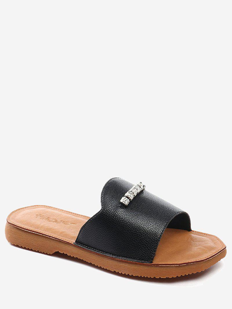 Lanbaoli Crystal Detail Flat Outdoor Slippers - BLACK 35