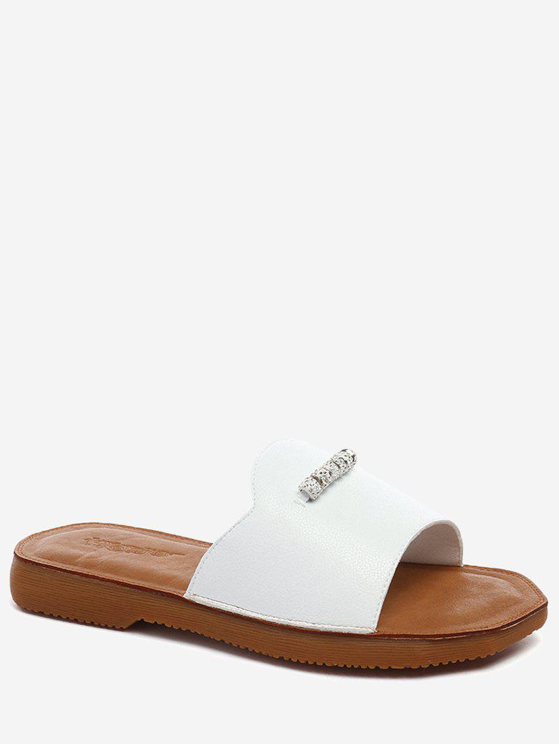 Lanbaoli Crystal Detail Flat Outdoor Slippers - WHITE 39