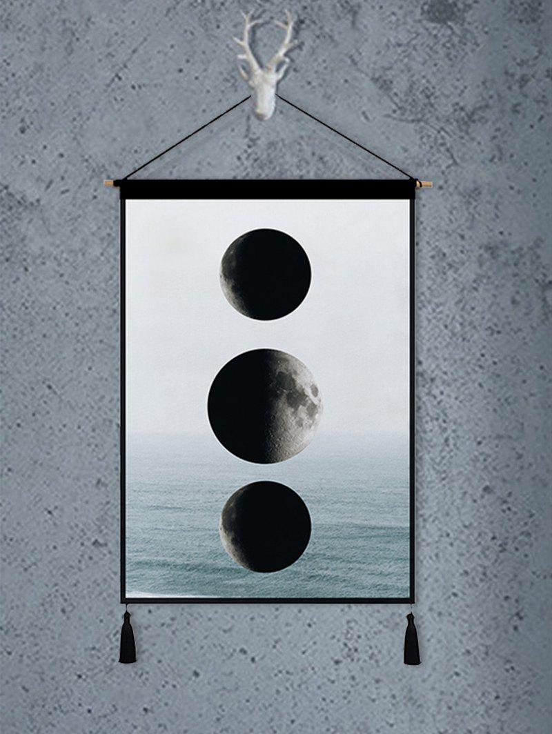 Solar Eclipse Print Tassel Wall Art Hanging Painting - multicolor 1PC:18*26 INCH(NO FRAME)