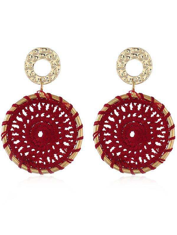 Crochet Flower Boho Stud Drop Earrings - RED