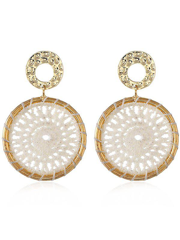Crochet Flower Boho Stud Drop Earrings - WHITE