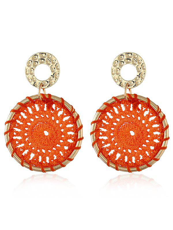 Crochet Flower Boho Stud Drop Earrings - ORANGE
