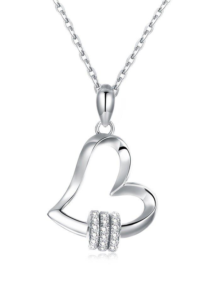 Rhinestone Heart Sterling Silver Pendant Necklace - SILVER