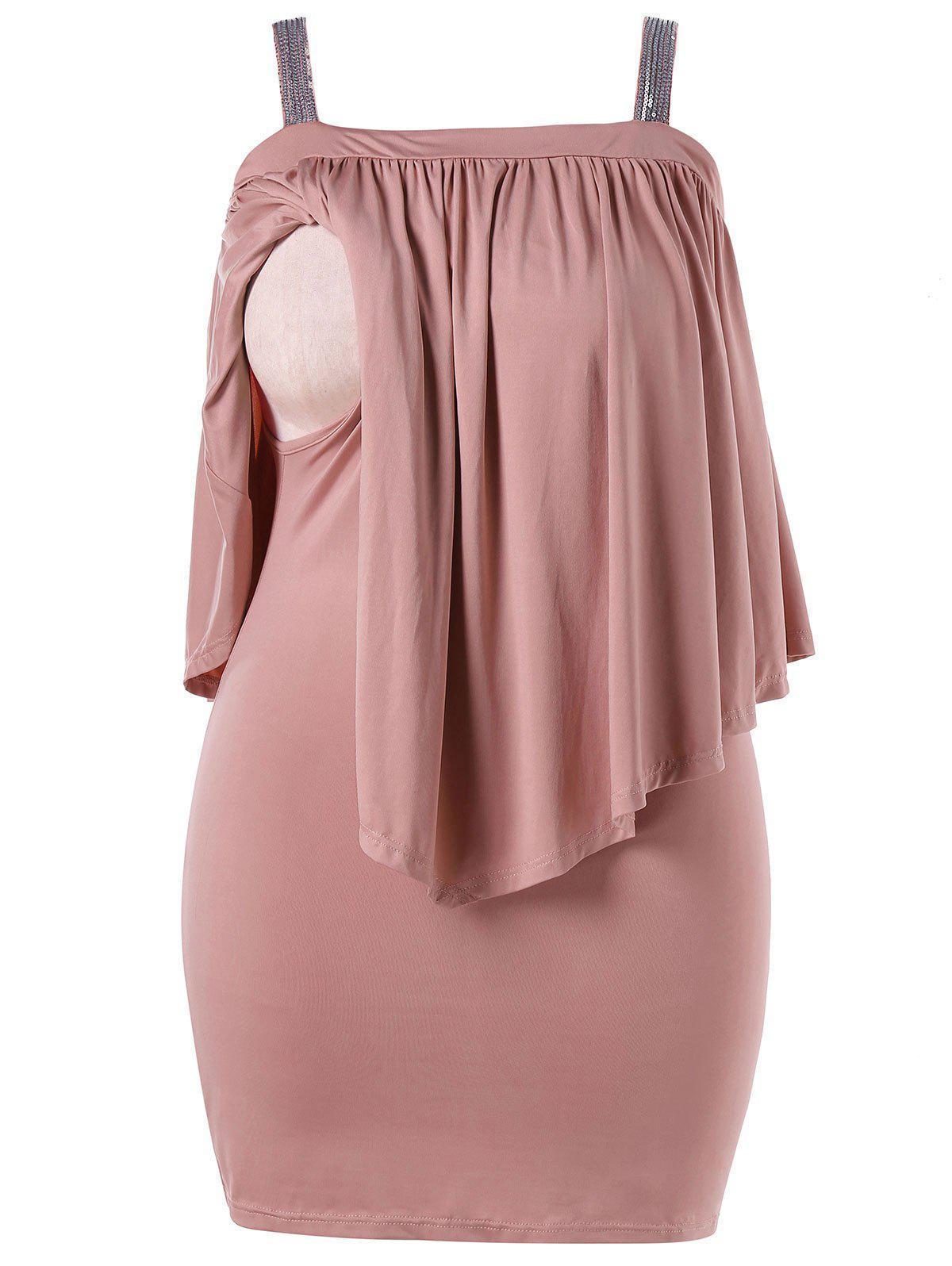 Plus Size Open Shoulder Capelet Nursing Dress - LIGHT PINK 3X