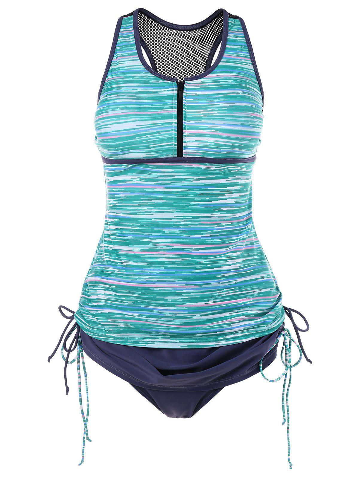 Space Dyed Empire Waist Racerback Tankini - GREEN XL