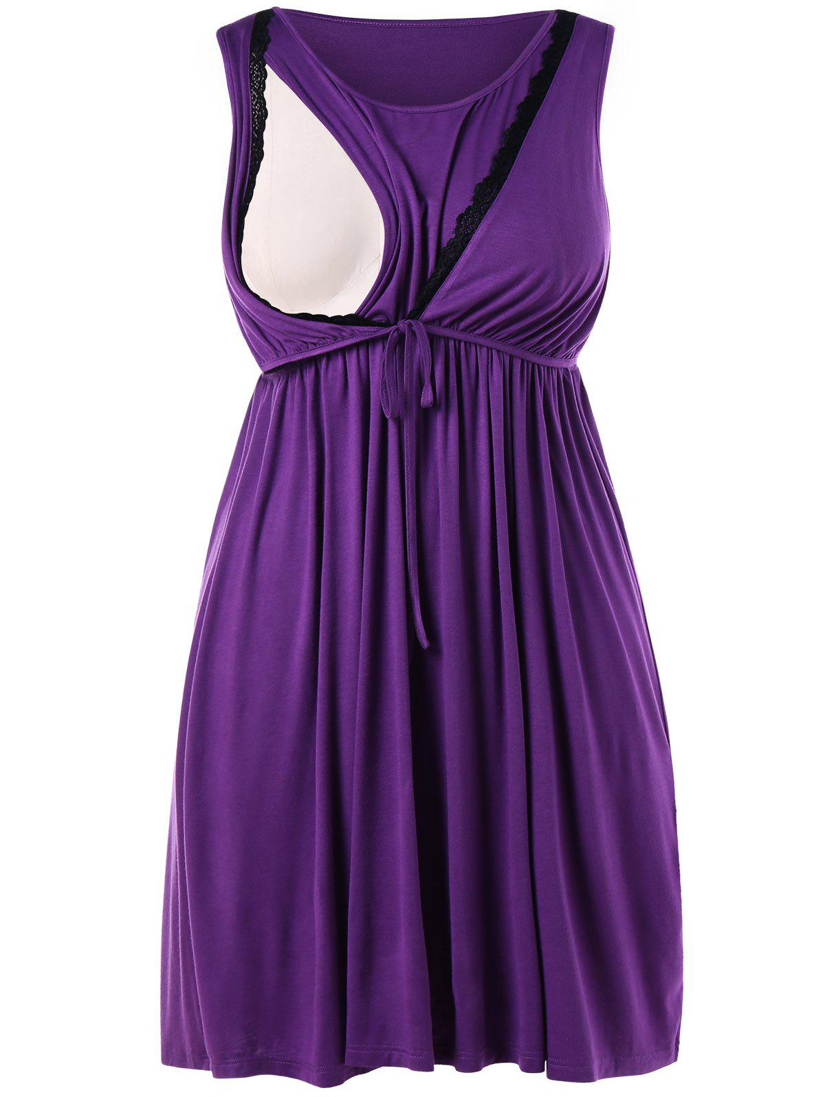 Sleeveless Plus Size Drawstring Waist Nursing Dress - VIOLET 5X